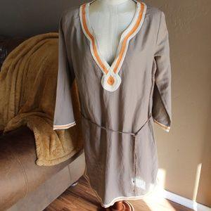 Lucky Brand   Linen Blend Embroidered Dress
